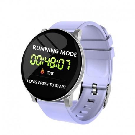 Ceas Smartwatch Techstar® W8 Lila Deschis, 1.3 inch IPS, Monitorizare Cardiaca, Tensiune. Oxigenare, Sedentary, Bluetooth, IP67
