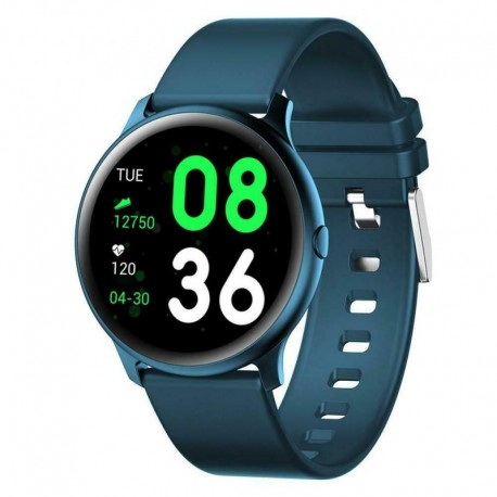 Ceas Smartwatch Techstar® KW19 Albastru, 1.3 inch HD Rotund, Monitorizare Cardiaca, Tensiune. Oxigenare, Bluetooth 4.0