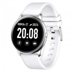 Ceas Smartwatch Techstar® KW19 Alb, 1.3 inch HD Rotund, Monitorizare Cardiaca, Tensiune. Oxigenare, Bluetooth 4.0