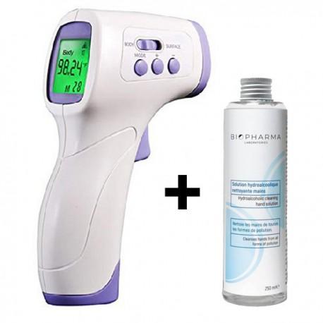 Termometru digital non contact cu infrarosu iUni T6 + Solutie igienizanta pentru maini 250ml
