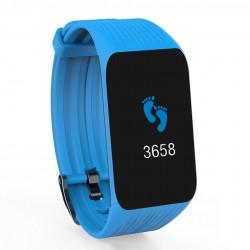 Bratara Fitness Techstar® K1 Albastru, 0.66 inch OLED, Alerte, Social Media, Monitorizare Cardiaca, IP65, Bluetooth 4.0