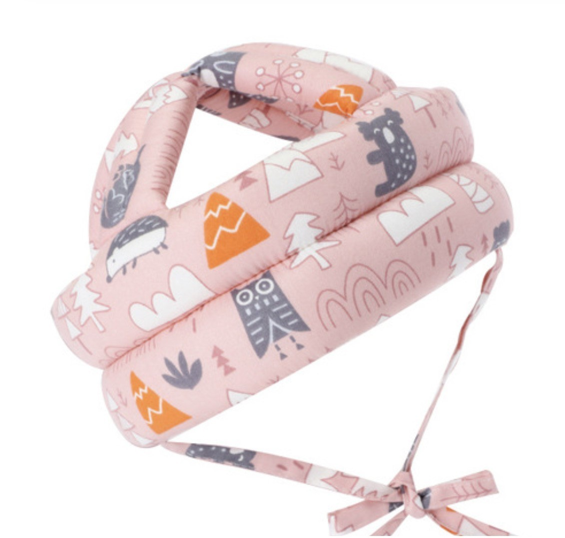 Casca protectie copii 6-36 luni, bumbac plus spuma, ajustabila, 65grame, roz imagine techstar.ro 2021