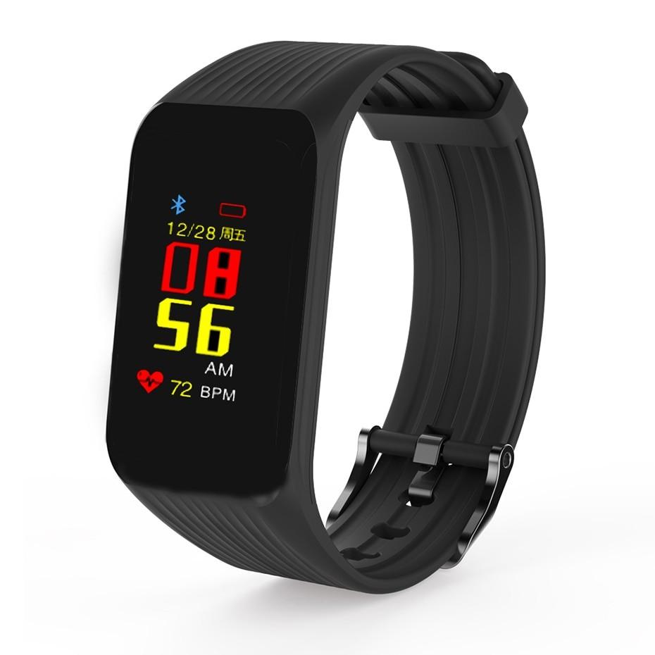 Bratara Fitness Techstar® K1 Negru, 0.66 inch OLED, Alerte, Social Media, Monitorizare Cardiaca, IP65, Bluetooth 4.0 imagine techstar.ro 2021
