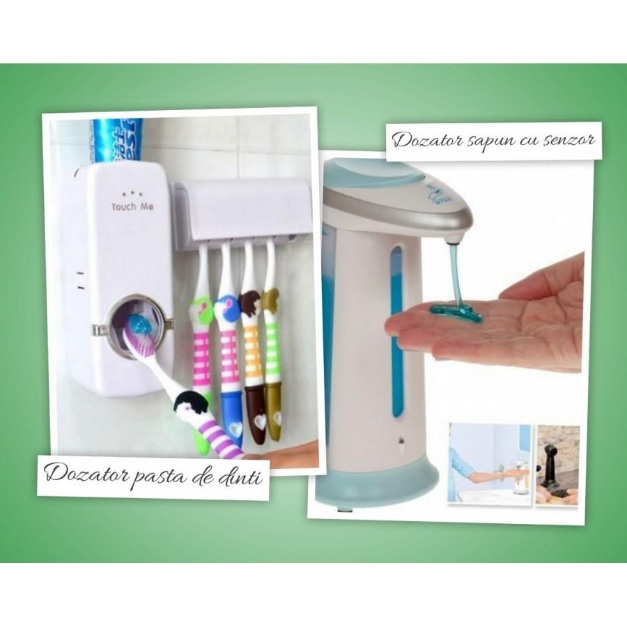Dozator de sapun cu senzor + dozator pasta de dinti + GRATUIT suport pentru 5 periute