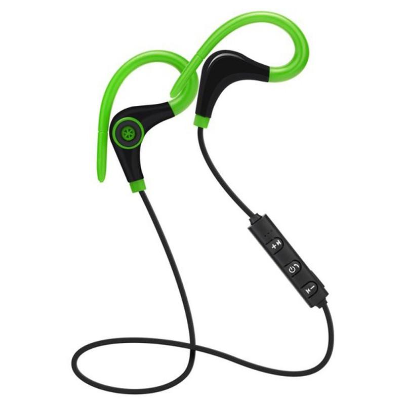 Casti Wireless Techstar® BT200, Bluetooth 4.1 ,HD Audio, Rezistente la Transpiratie, Comenzi pe Fir, Verde imagine techstar.ro 2021
