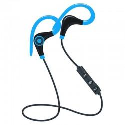 Casti Wireless Techstar® BT200, Bluetooth 4.1 ,HD Audio, Rezistente la Transpiratie, 500mAh, Comenzi pe Fir, Albastru