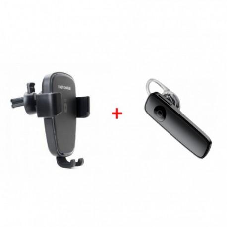 Casca Bluetooth +Suport Incarcator wireless telefon pentru auto