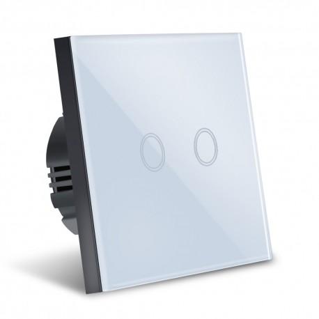 Intrerupator Smart Touch Techstar®, Sticla Securizata, Design Modern, Iluminare LED, 2 Faze, Alb