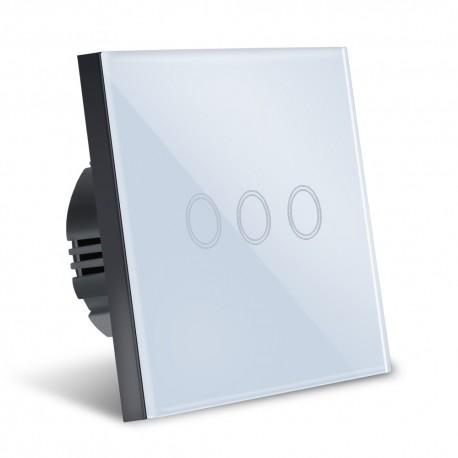 Intrerupator Smart Touch Techstar®, Sticla Securizata, Design Modern, Iluminare LED, 3 Faze, Alb