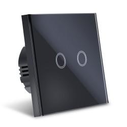 Intrerupator Smart Touch Techstar®, Sticla Securizata, Design Modern, Iluminare LED, 2 Faze, Negru