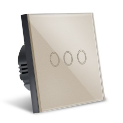 Intrerupator Smart Touch Techstar®, Sticla Securizata, Design Modern, Iluminare LED, 3 Faze, Gold
