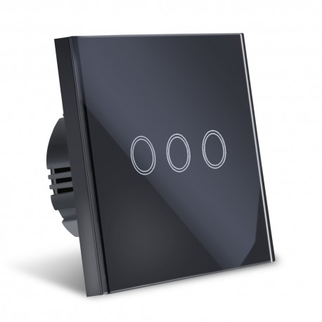 Intrerupator Smart Touch Techstar®, Wireless 2.4GHz, Sticla Securizata, Design Modern, Iluminare LED, 3 Faze, Negru