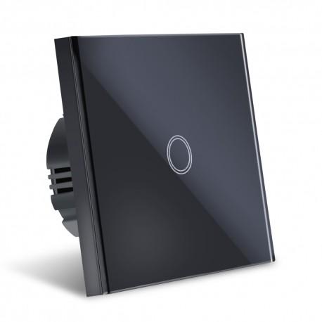 Intrerupator Smart Touch Techstar®, Wireless 2.4GHz, Sticla Securizata, Design Modern, Iluminare LED, 1 Faza, Negru