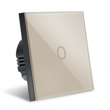 Intrerupator Smart Touch Techstar®, Wireless 2.4GHz, Sticla Securizata, Design Modern, Iluminare LED, 1 Faza, Gold