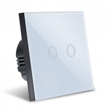 Intrerupator Smart Touch Techstar®, Wireless 2.4GHz, Sticla Securizata, Design Modern, Iluminare LED, 2 Faze, Alb