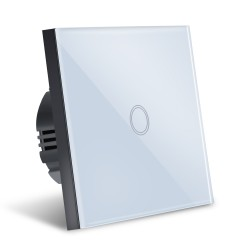 Intrerupator Smart Touch Techstar®, Wireless 2.4GHz, Sticla Securizata, Design Modern, Iluminare LED, 1 Faza, Alb
