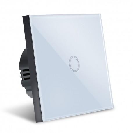 Intrerupator Smart Touch Techstar®, Wireless 2.4GHz, Sticla Securizata, Design Modern, Iluminare LED, 1 Faza, Alb