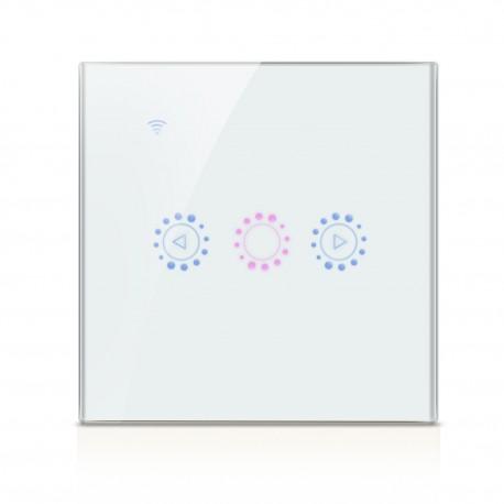 Intrerupator Smart Touch Techstar®, Wireless 2.4GHz, Dimmer, Sticla Securizata, Design Modern, Iluminare LED, 1 Faza, Alb
