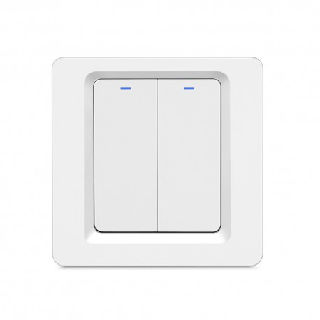 Intrerupator Smart Techstar®, Wireless 2.4GHz, Button cu Revenire, Design Classic, Iluminare LED, 2 Faze, Alb