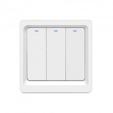 Intrerupator Smart Techstar®, Wireless 2.4GHz, Button cu Revenire, Design Classic, Iluminare LED, 3 Faze, Alb