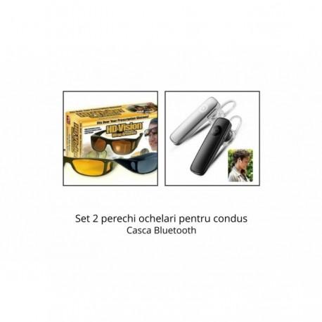 Set 2 perechi ochelari de zi si de noapte HD Vision + Casca Bluetooth CADOU