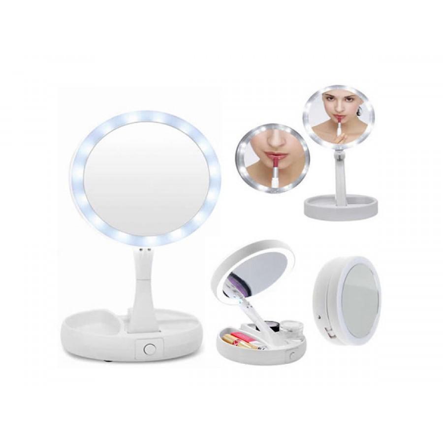 Oglinda de machiaj cu 2 fete Iluminare Circulara LED Ajustare Unghi Inclinare imagine techstar.ro 2021