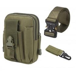 Set Curea, borseta, carabina tip militar, foarte rezistente, Nylon, verde militar