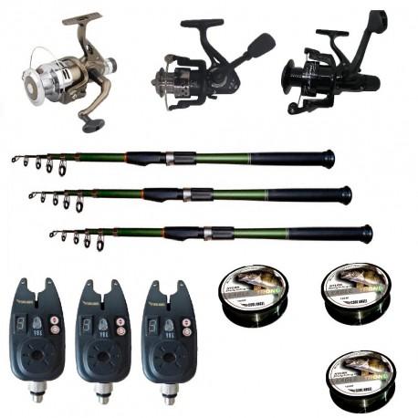 Set pescuit sportiv cu 3 lansete de 3.6 m Cool Angel, 3 mulinete, 3 senzori si 3 gute