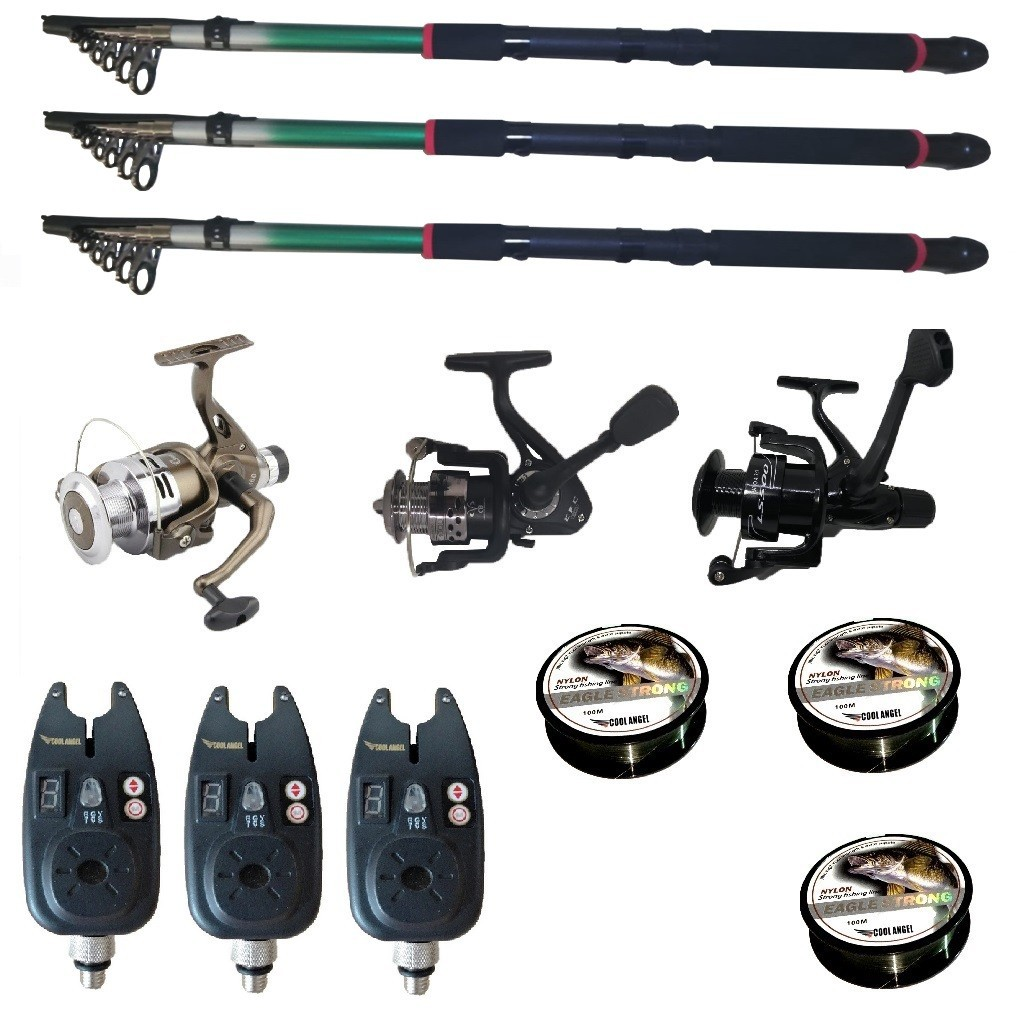 Set pescuit sportiv cu 3 lansete de 2.4m Gold Shark, 3 mulinete, 3 senzori si 3 gute imagine techstar.ro 2021