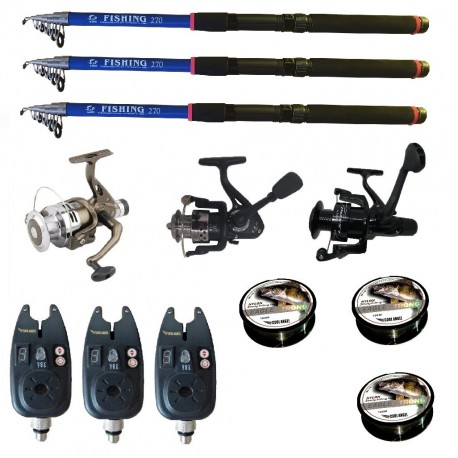 Set pescuit sportiv cu lanseta de 2.7 m Fishing Line, 3 mulinete, 3 senzori si 3 gute