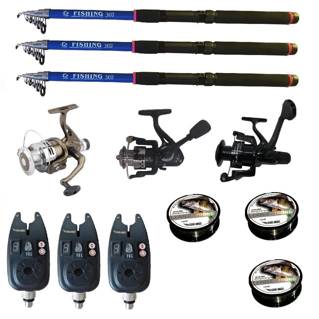 Set pescuit sportiv cu lanseta de 3 m Fishing Line, 3 mulinete, 3 senzori si 3 gute