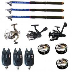 Set pescuit sportiv cu lanseta de 3.6 m Fishing Line, 3 mulinete, 3 senzori si 3 gute