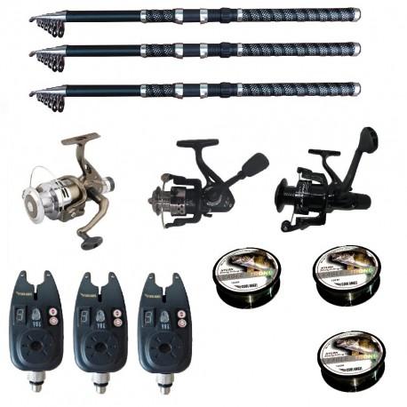 Set pescuit sportiv cu lansete de 3 m Ultra Carp, 3 mulinete, 3 senzori si 3 gute