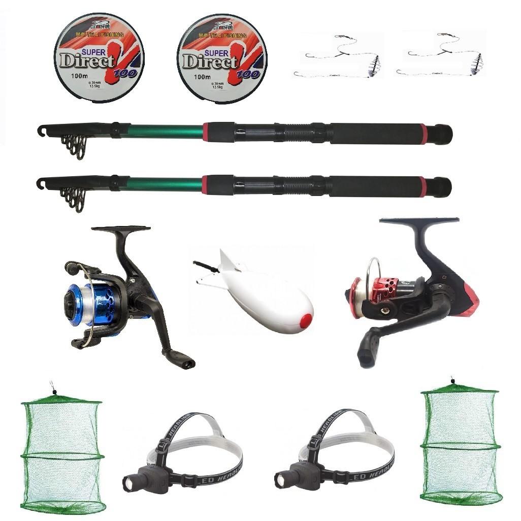 Kit complet de pescuit sportiv pentru doua persoane cu lansete 2,4m, doua mulinete si accesorii imagine techstar.ro 2021