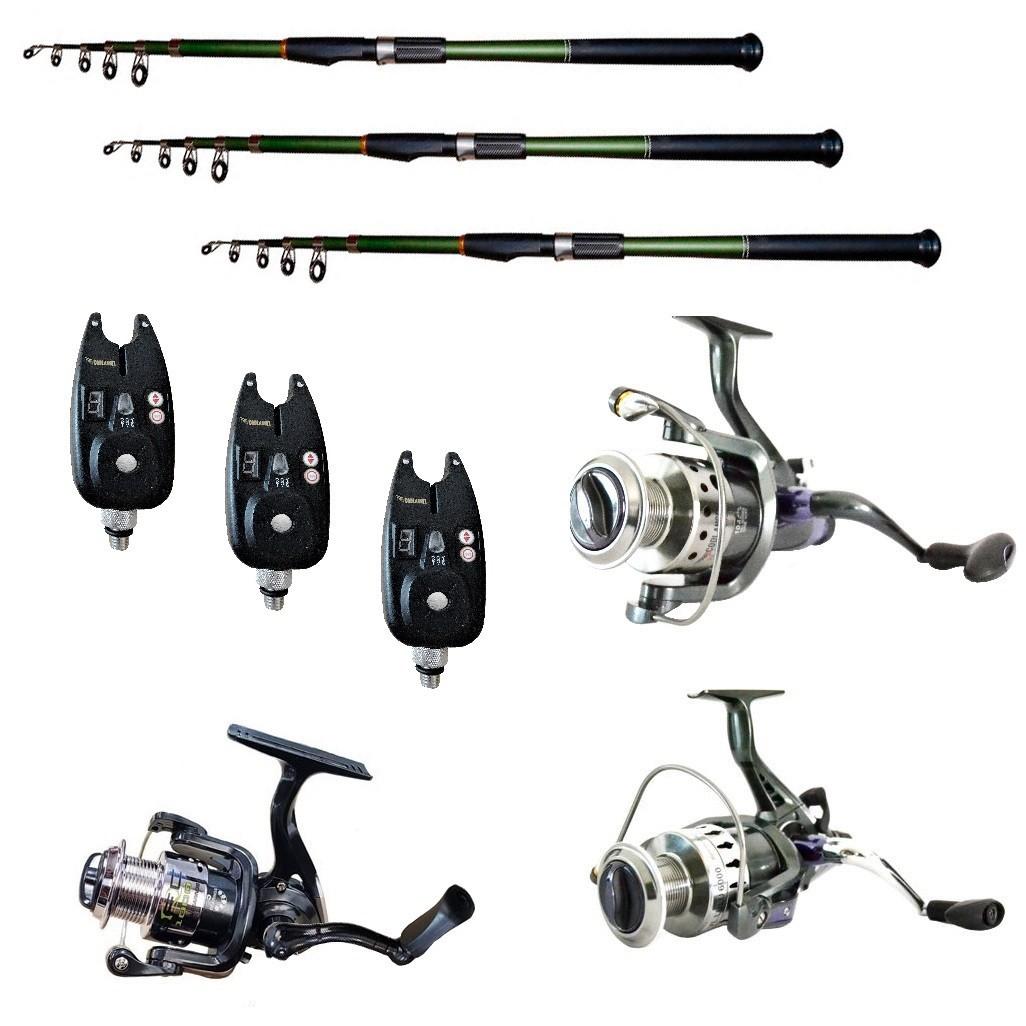 Pachet de pescuit cu 3 lansete 3m Cool Angel, trei mulinete si 3 senzori