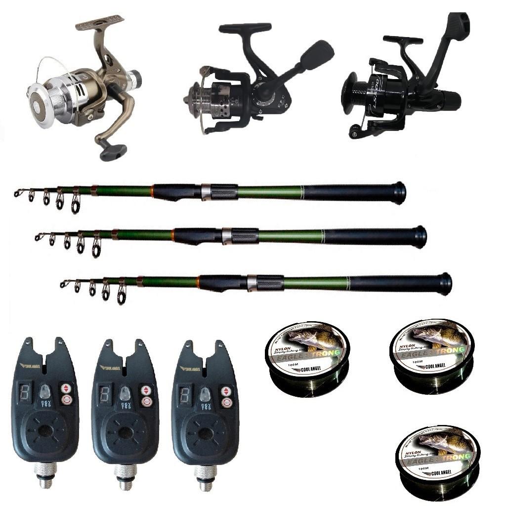 Set pescuit sportiv cu 3 lansete de 3 m Cool Angel, 3 mulinete, 3 senzori si 3 gute