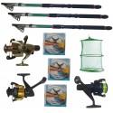 Set pescuit cu 3 lansete Eastshark 2.4m, 3 mulinete , guta si juvelnic cu 3 inele