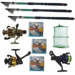 Set pescuit cu 3 lansete Eastshark 2.7m, 3 mulinete , guta si juvelnic cu 3 inele