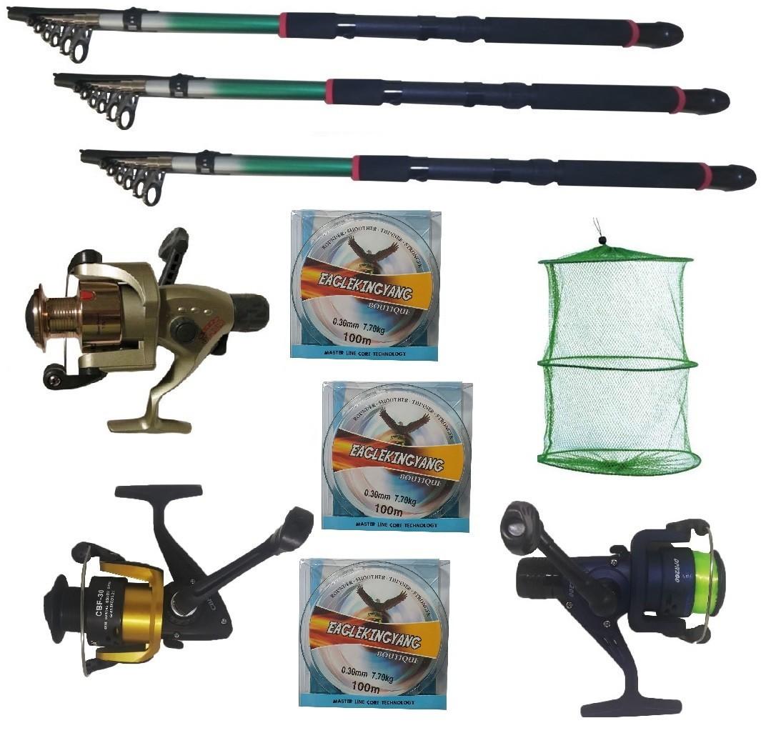 Set pescuit cu 3 lansete Eastshark 3m, 3 mulinete , guta si juvelnic cu 3 inele