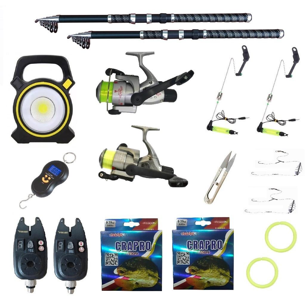 Pachet pescuit sportiv cu 2 lansete 3,6m Ultra Carp, 2 mulinete, proiector si accesorii