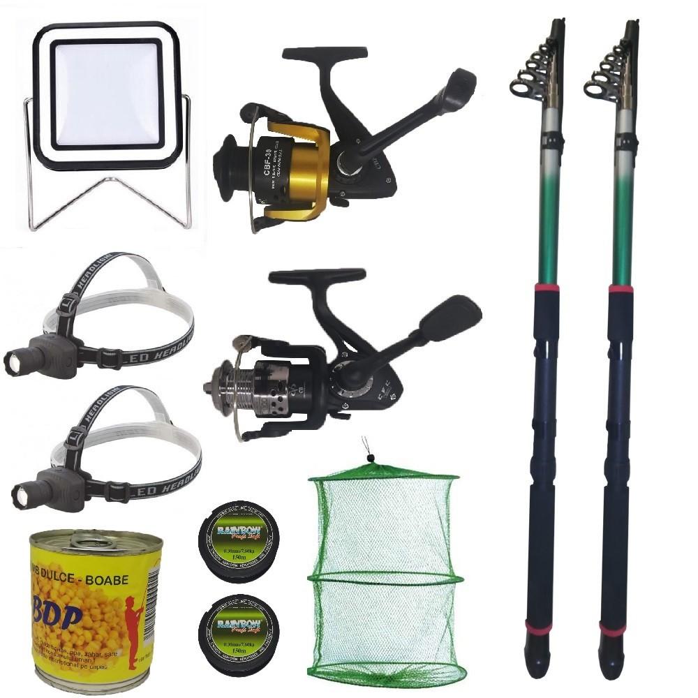 Pachet de pescuit cu 2 lansete eastshark 2.4m, doua mulinete si accesorii