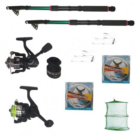 Set pescuit sportiv cu lansete 2.7m eastshark, 2 mulinete, 2 forfati, 2 gute si juvelnic cu 3 inele