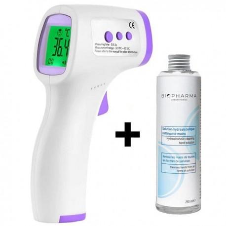 Termometru digital non contact cu infrarosu iUni T3 + Solutie igienizanta pentru maini 250ml