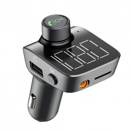 Modulator FM Techstar® T15, Wireless, Bluetooth 5.0, Microfon Integrat, Quick Charge 3.0, Slot MicroSD, AUX IN