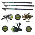 Set pescuit sportiv cu trei lansete 2.4 m EastShark, trei mulinete Cobra si gute