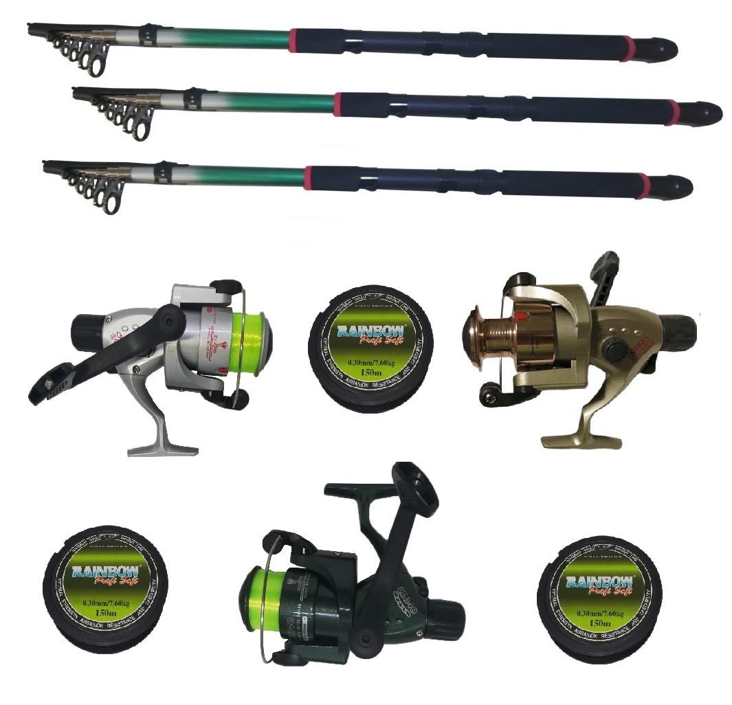 Set pescuit sportiv cu trei lansete 2.4 m EastShark, trei mulinete Cobra si gute imagine techstar.ro 2021