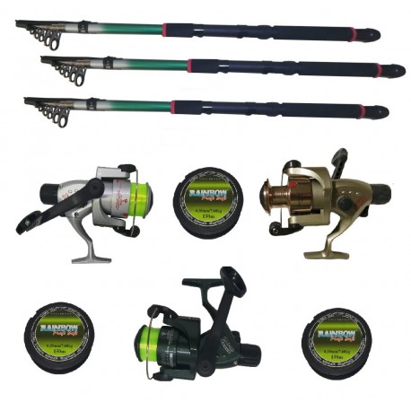 Set pescuit sportiv cu trei lansete 3 m EastShark, trei mulinete Cobra si gute