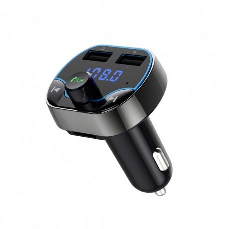 Modulator FM Techstar® T24, Wireless, Bluetooth 4.2, Microfon Integrat, Quick Charge, Slot MicroSD