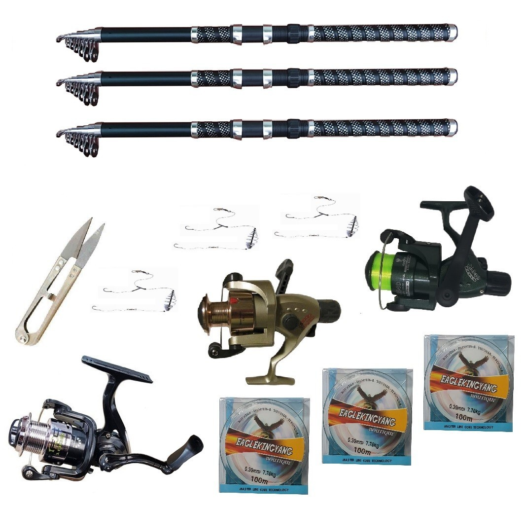 Set pescuit sportiv cu 3 lansete 3.6m Ultra Carp, 3 mulinete, trei gute, monturi si foarfeca