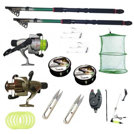 Kit pescuit sportiv cu doua lansete 2.4m EastShark, doua mulinete Cobra si accesorii